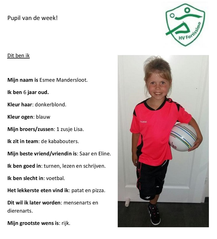 2017-2018 Pupil van de week - Esmee