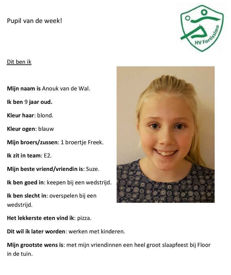 2017-2018 Pupil van de week - Anouk