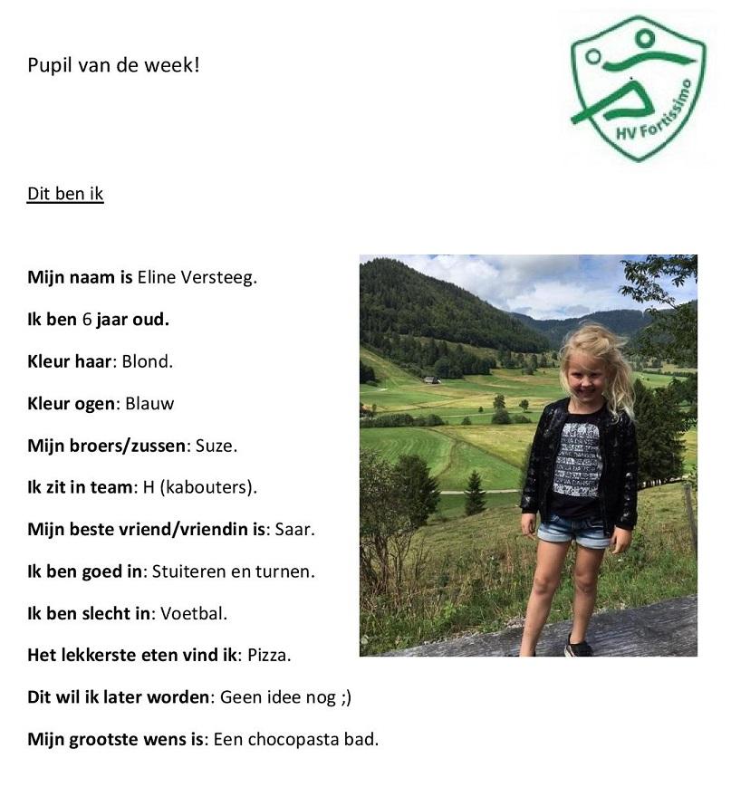 2017-2018 Pupil van de week - Eline