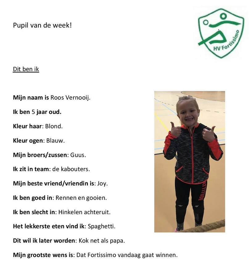 2017-2018 Pupil van de week - Roos