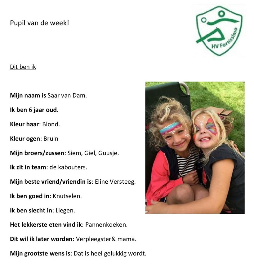2017-2018 Pupil van de week - Saar