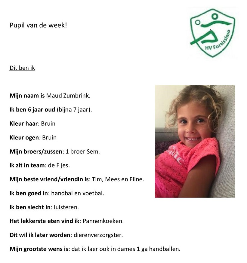 2018-2019 Pupil van de week - Maud