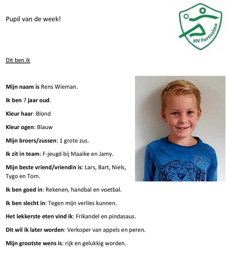 2018-2019 Pupil van de week - Rens