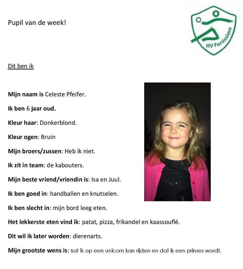2018-2019 Pupil van de week - Celeste