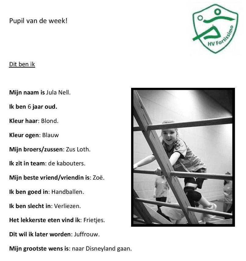 2018-2019 Pupil van de week - Jula